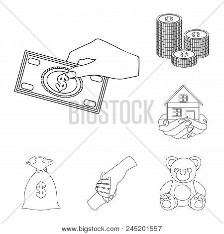 Charity And Donation Outline Icons In Set Collection For Design. Material Aid Vector Symbol Stock  I