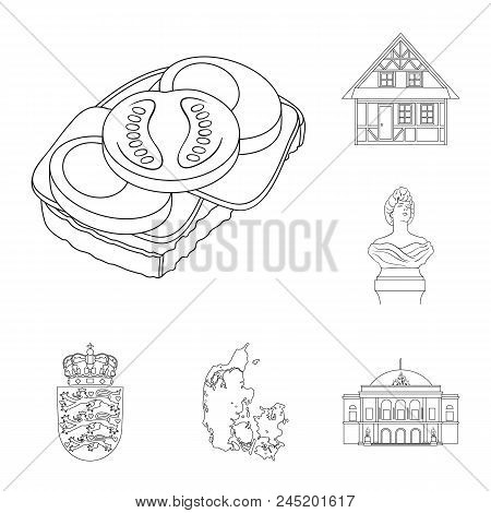 Traveling In Denmark Outline Icons In Set Collection For Design. Denmark And Attractions Vector Symb