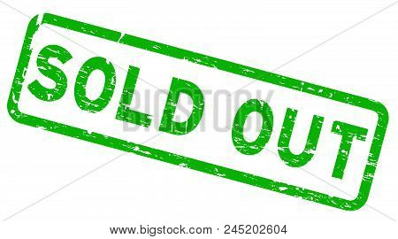 Grunge Green Sold Out Square Rubber Seal Stamp On White Background