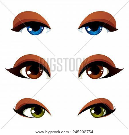 Set Of Vector Blue, Brown And Green Eyes. Female Eyes Expressing Different Emotions, Face Features O