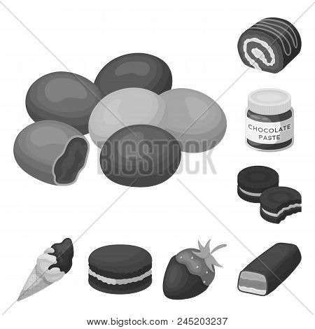 Chocolate Dessert Monochrome Icons In Set Collection For Design. Chocolate And Sweets Vector Symbol