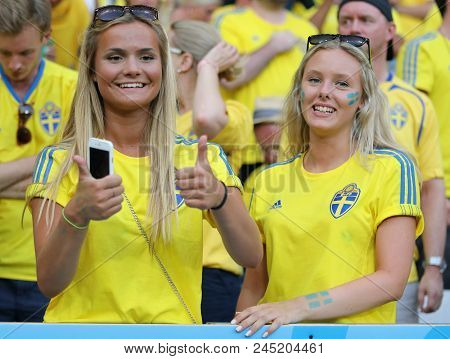 Nice, France - June 22, 2016: Swedish Fans Have Fan During The Uefa Euro 2016 Game Sweden V Belgium