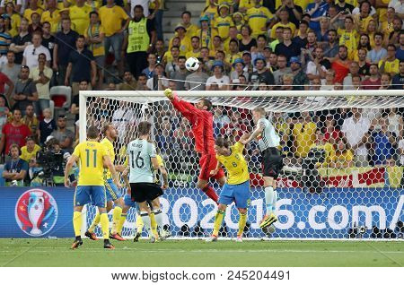 Nice, France - June 22, 2016: Goalkeeper Andreas Isaksson Of Sweden (in Red) In Action During The Ue
