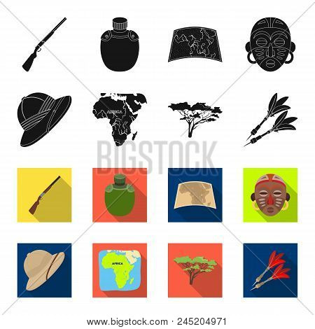 Cork Hat, Darts, Savannah Tree, Territory Map. African Safari Set Collection Icons In Black, Flet St