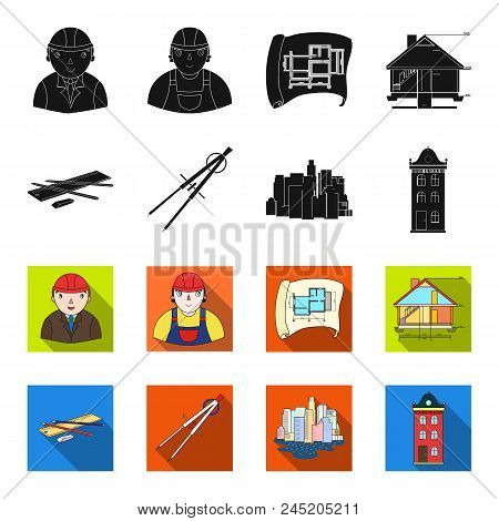 Drawing Accessories, Metropolis, House Model. Architecture Set Collection Icons In Black, Flet Style