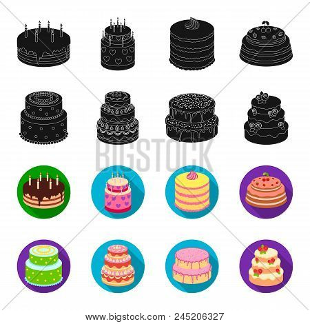 Sweetness, Dessert, Cream, Treacle .cakes Country Set Collection Icons In Black, Flet Style Vector S