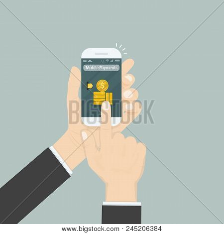Hand Holding Smartphone And Touching Screen With Text Messaging.smartphone With Mobile Payments Appl
