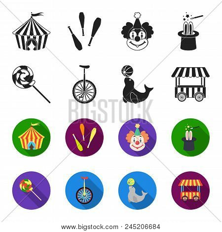 Lollipop, Trained Seal, Snack On Wheels, Monocycle.circus Set Collection Icons In Black, Flet Style