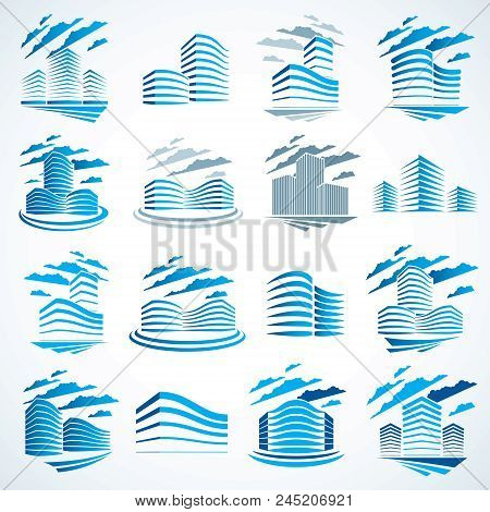 City Buildings Business Financial Office Vector Design Set. Futuristic Architecture Illustrations Co