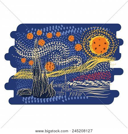 Starry Night Van Gogh Art Style Vector. Dotted Lines Illustration.