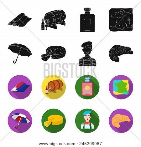 Umbrella, Traditional, Cheese, Mime .france Country Set Collection Icons In Black, Flet Style Vector