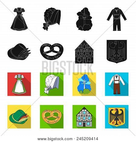 Country Germany Black, Flet Icons In Set Collection For Design. Germany And Landmark Vector Symbol S