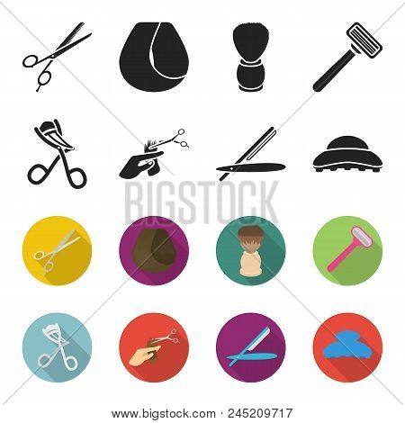 Scissors, Brush, Razor And Other Equipment. Hairdresser Set Collection Icons In Black, Flet Style Ve