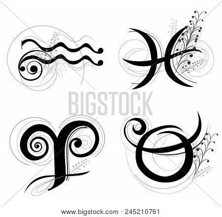 Letter Horoscope, Zodiac Or Astrology Symbol Are Aquarius, Pisces, Aries And Taurus Black And White