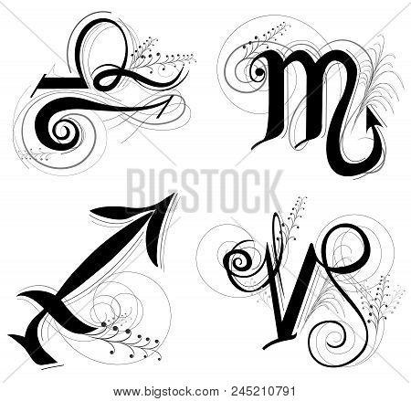 Letter Horoscope, Zodiac Or Astrology Symbol Are Libra Scorpio Sagittarius And Capricorn  Black And
