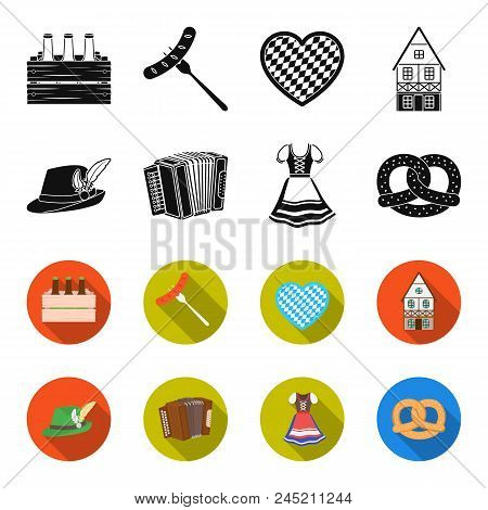Tyrolean Hat, Accordion, Dress, Pretzel. Oktoberfest Set Collection Icons In Black, Flet Style Vecto