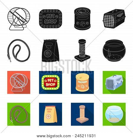 Leash, Feed And Other Zoo Store Products.pet Shop Set Collection Icons In Black, Flet Style Vector S