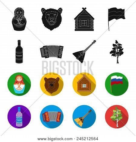 Russia, Country, Vodka, Accordion .russia Country Set Collection Icons In Black, Flet Style Vector S
