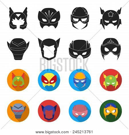 Helmet, Mask On The Head.mask Super Hero Set Collection Icons In Black, Flet Style Vector Symbol Sto