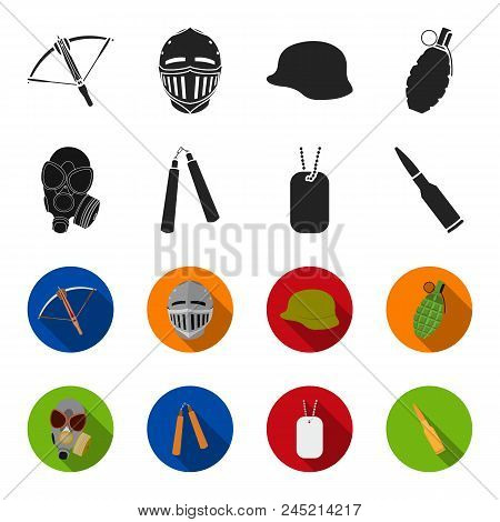 Gas Mask, Nunchak, Ammunition, Soldier's Token. Weapons Set Collection Icons In Black,flet Style Vec