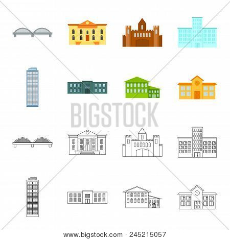 Skyscraper, Police, Hotel, School.building Set Collection Icons In Cartoon, Outline Style Vector Sym