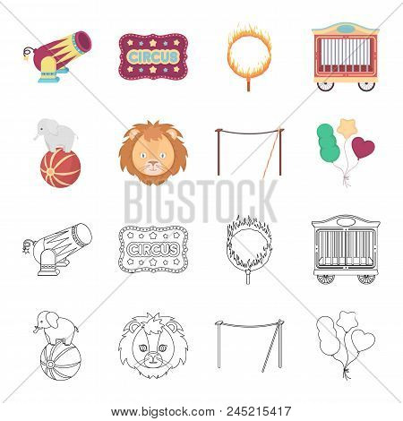 Elephant On The Ball, Circus Lion, Crossbeam, Balls.circus Set Collection Icons In Cartoon, Outline