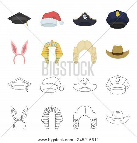 Rabbit Ears, Judge Wig, Cowboy. Hats Set Collection Icons In Cartoon, Outline Style Vector Symbol St