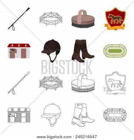 Boots, Grass, Stadium, Track, Rest .hippodrome And Horse Set Collection Icons In Cartoon, Outline St