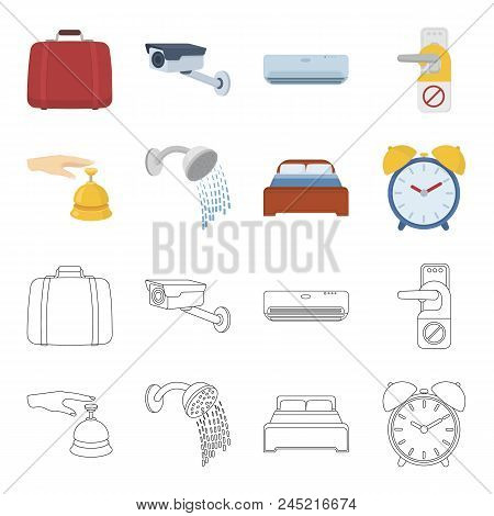 Call At The Reception, Alarm Clock, Bed, Shower.hotel Set Collection Icons In Cartoon, Outline Style