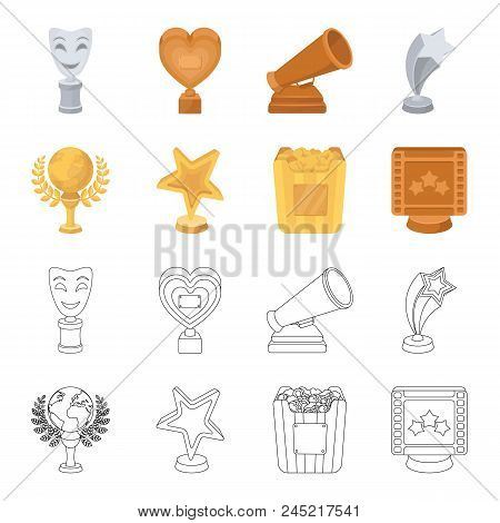 A Gold Prize In The Form Of A Star, A Gold Globe And Other Prizes.movie Awards Set Collection Icons