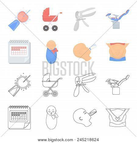 Calendar, Newborn, Stomach Massage, Artificial Feeding. Pregnancy Set Collection Icons In Cartoon, O