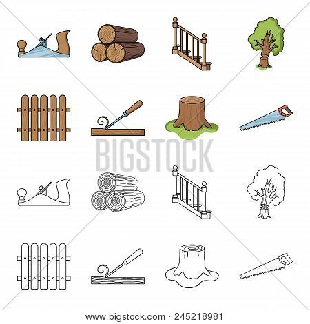 Fence, Chisel, Stump, Hacksaw For Wood. Lumber And Timber Set Collection Icons In Cartoon, Outline S