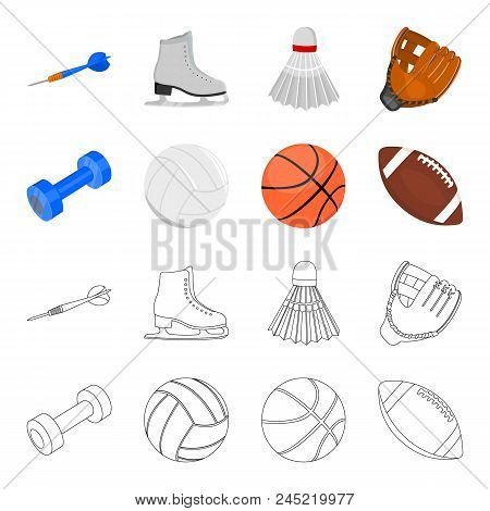Blue Dumbbell, White Soccer Ball, Basketball, Rugby Ball. Sport Set Collection Icons In Cartoon, Out