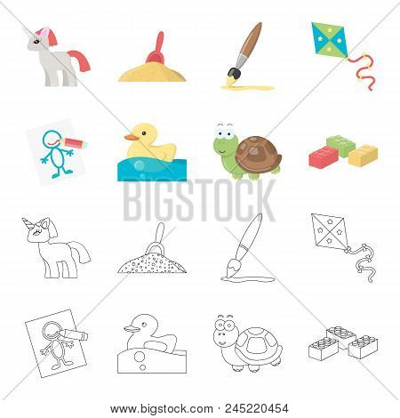 Children's Toy Cartoon,outline Icons In Set Collection For Design. Game And Bauble Vector Symbol Sto