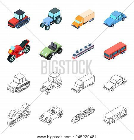 Motorcycle, Golf Cart, Train, Bus. Transport Set Collection Icons In Cartoon, Outline Style Vector S