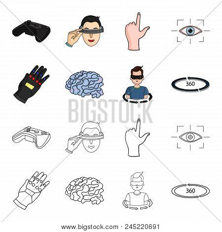 Technology, Innovation, Man, Complemented .virtual Reality Set Collection Icons In Cartoon, Outline