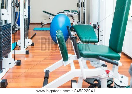 Close Up Equipment For Rehabilitation In Interior Of Physiotherapy Clinic. Physical Therapy Center.