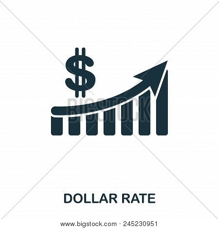 Dollar Rate Increase Graphic Icon. Mobile Apps, Printing And More Usage. Simple Element Sing. Monoch