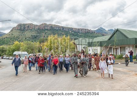 Lady Grey, South Africa - March 31, 2018: A Street Scene Of The Yearly Passion Play In Lady Grey In
