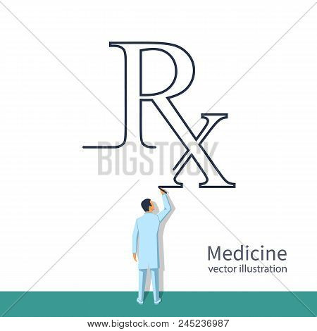 Doctor Drawing Rx. Writing Prescription. Rx Prescription Form. Medical Abstract Background. Vector I