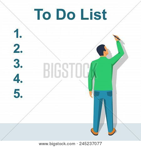 Writing To Do List. Checking Plan. A Person Writes A List Of Cases With A Pencil. Vector Illustratio