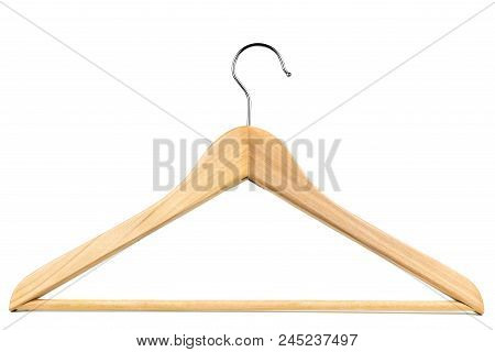 Wooden Clothes Hanger / Coat Hanger On A White Background