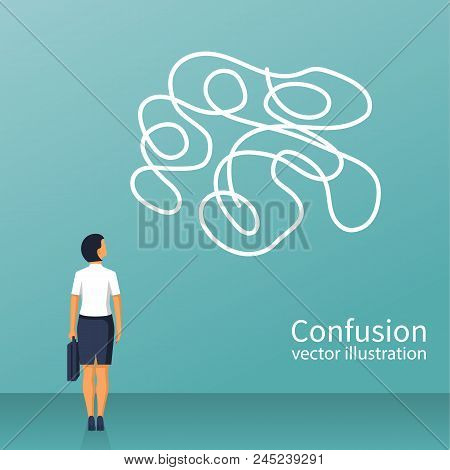 Confused Thoughts. Confusion Concept. Businesswoman Is Holding Hands On Head. Vector Illustration Fl