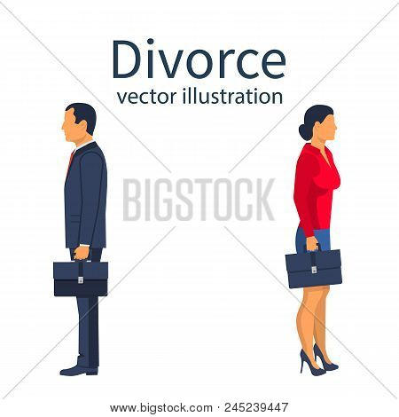 Divorce Concept. Breakup Concept. A Man And A Woman Go In Different Directions. Crisis Relationship