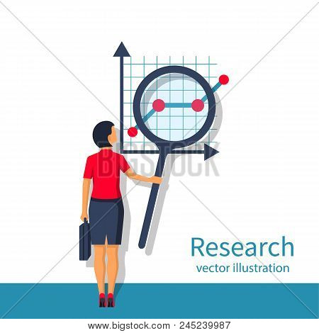 Research Business Concept. Woman Analyzing Financial Market Research Charts. Tax Audit, Financial Re