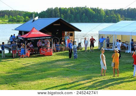 Outdoor Firm Party Near A Lake In Great Summer Day. Sweden, Enkoping. 9 June 2018.