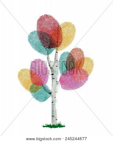 Colorful Fingerprint Tree Made Of Human Finger Print. Identity Concept, Environment Help Or Nature C