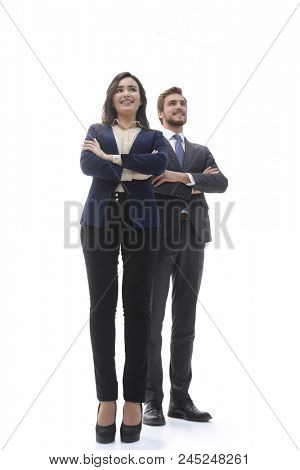 Two confident smiling businesspeople in formalwear isolated on w