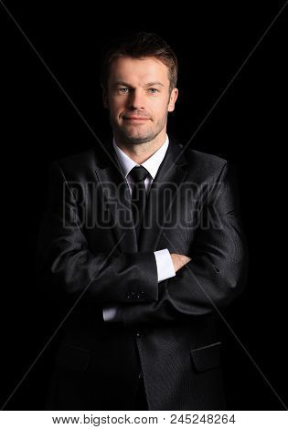 portrait in full length of confident businessman