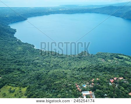 Lagoon Apoyo in Nicaragua aerial drone view poster
